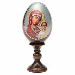 Handgemalte Russische Eier: Russische Ei-Ikone Gottesmutter von Kasan 13cm Decoupage