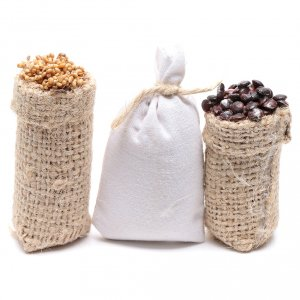 Miniature food: Sacks with chestnuts and flour 3 pcs