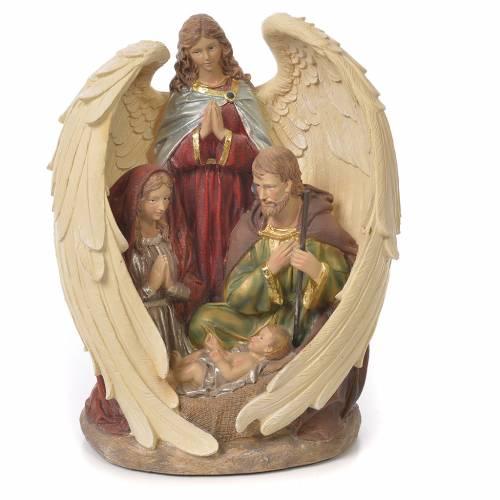 Sacra Famiglia con Angelo 31 cm resina fin. Naturale s1