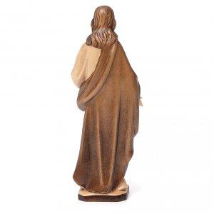 Sacré-Coeur de Jésus en bois Valgardena nuances brun s4