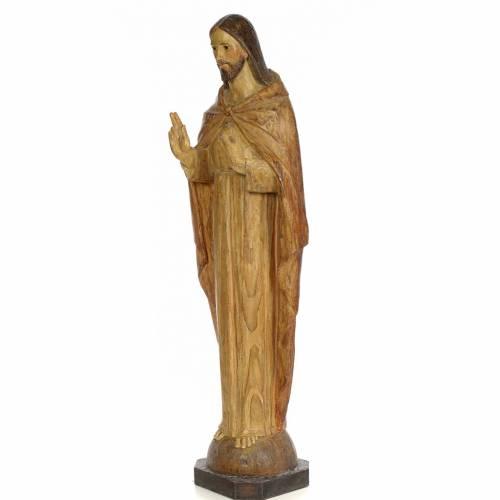 Sacred Heart of Jesus, 100cm in wood paste, chiselled effect dec s2