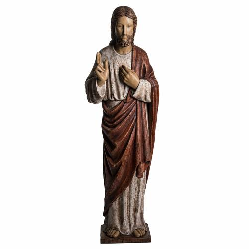 Sacro Cuore Gesù 107 cm legno dipinto Bethléem s1