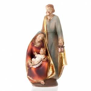 Belén resina y tela: sagrada familia coloreada 19 cm