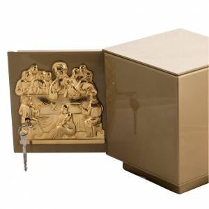 Sagrario de mesa Última Cena bronce dorado caja hierro s5