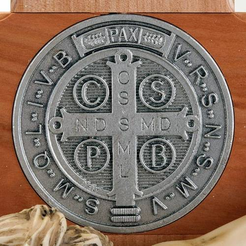 Saint Benedict cross in natural cherry wood 71 cm s5