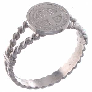 Prayer rings: Saint Benedict intertwined ring in 800 silver