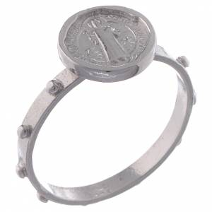 Prayer rings: Saint Benedict single-decade ring in 800 silver