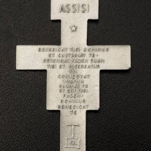Saint Damien cross pendant, silver metal 5.8cm s3