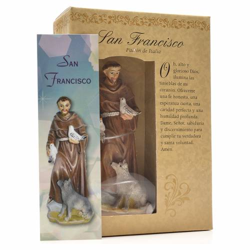 Saint Francis of Assisi 12cm with Spanish prayer s3