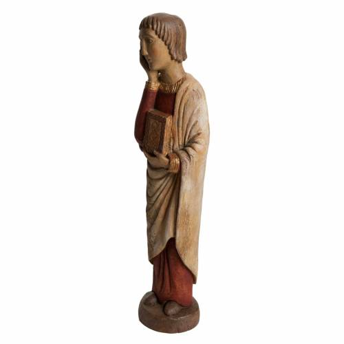 Saint John at Calvary statue in painted Bethléem wood, antique s3