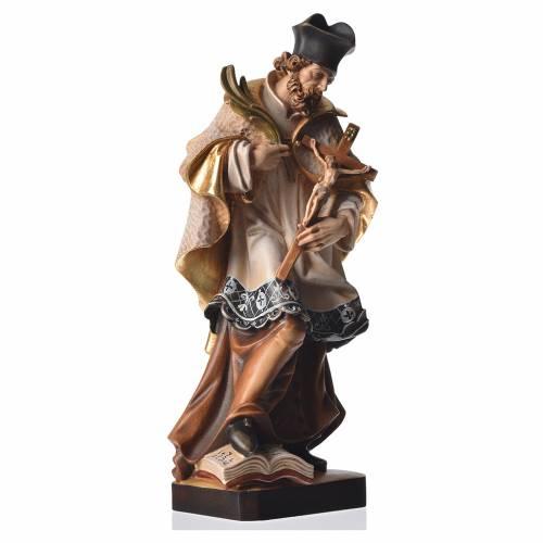 Saint John of Nepomuk in painted Valgardena wood s2