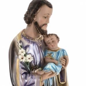 Saint Joseph and Jesus infant, pearlized plaster statue, 60 cm s2
