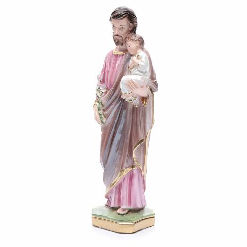 Saint Joseph and Jesus infant statue in pearlized plaster, 30 cm s2