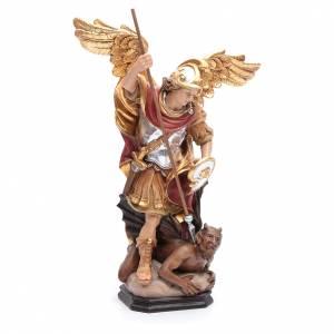 Saint Michel Archange ailes dorées bois Valgardena peint s4