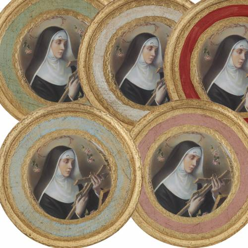 Saint Rita picture on round wood panel s1