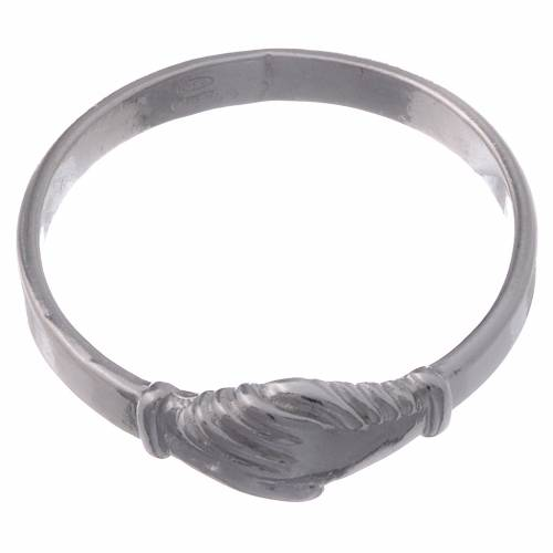 Saint Rita ring in 925 silver with shaking hands s2