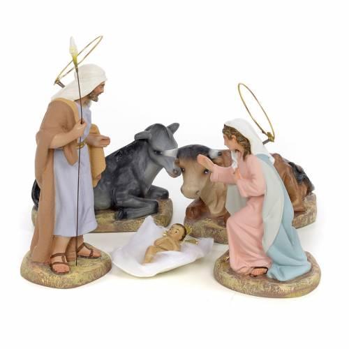Sainte Famille 5 figurines pâte à bois 15 cm finition raffinée s1