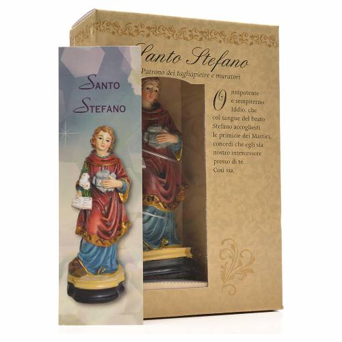 San Esteban 12cm con imagen y oración en Italiano s3