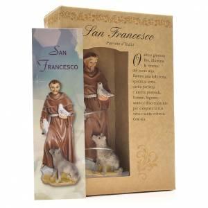 San Francesco d'Assisi 12 cm con immaginetta PREGHIERA ITALIANO s3