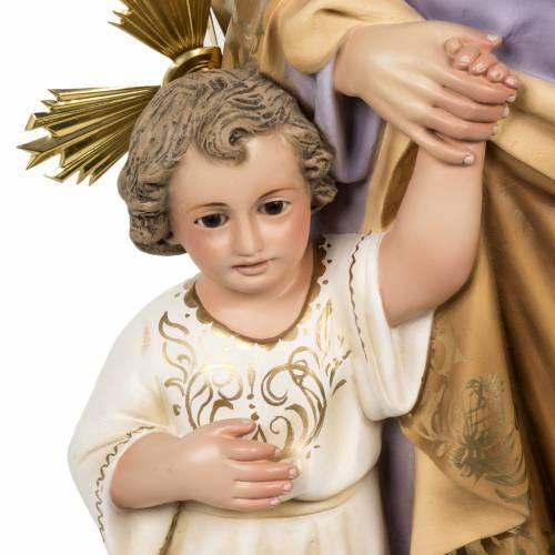 San Giuseppe con bimbo 60 cm pasta legno fin. elegante s3
