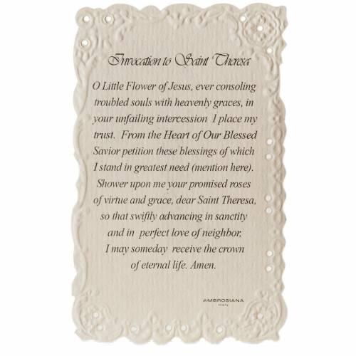Santino Saint Theresa con preghiera (inglese) s2