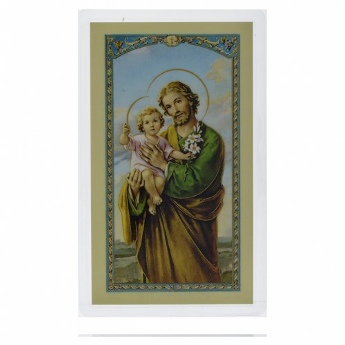 Santino San Giuseppe abbraccia il Bambino Gesù Preghiera ITA 10x5 s1