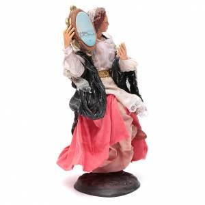 Santon femme avec tambourin 18 cm crèche Napolitaine s3