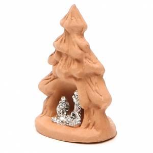 Sapin de Noël et Nativité terre cuite naturelle 7x5x4 cm s2