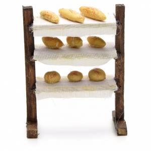 Scaffale con pane presepe napoletano cm 8 s1