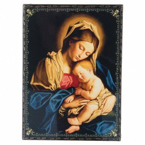 Scatola cartapesta decoupage russa Madonna col Bambino 22X16 cm s1