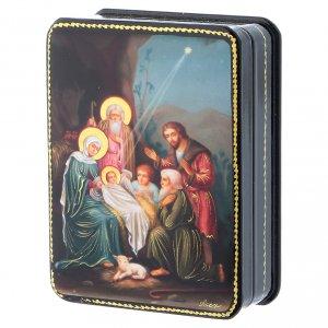 Scatola russa Papier-mâché Nascita Gesù Cristo riproduzione 11x8 Fedoskino style s2