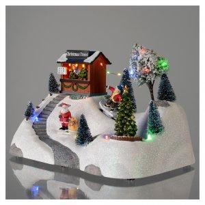 Scena natalizia musica albero verde in movimento 20x30x15 cm s3