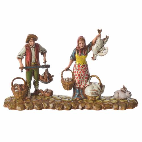 Scene with 3 shepherds, nativity figurines, 10cm Moranduzzo s2