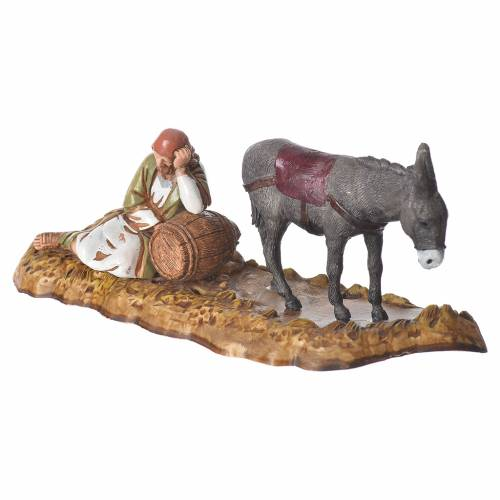 Scene with sleeping man and donkey, nativity figurines, 10cm Moranduzzo s2