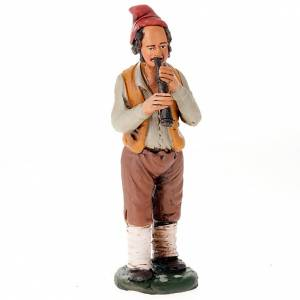 Krippe aus Terrakotta: Schalmeienspieler aus handgemalter Terrakotta 18 cm