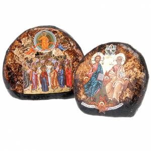 Icons printed on wood and stone: Screen-printed terracotta icon with Ascension, Holy Trinity