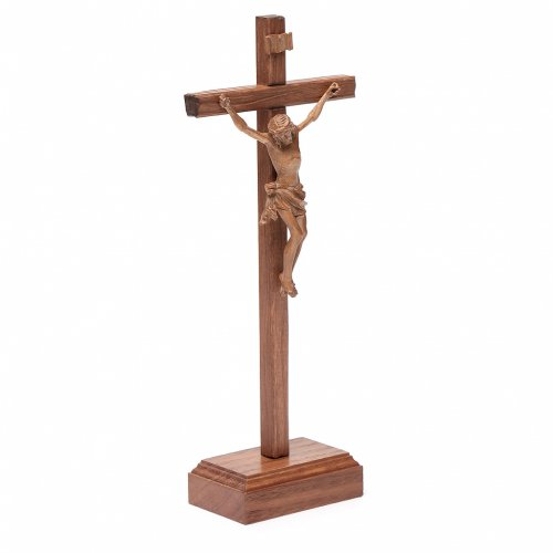 Sculpted table crucifix, Corpus model in patinated Valgardena wo s3
