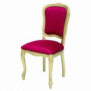 Sedia legno noce barocca foglia oro velluto rosso s1