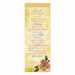 Segnalibro: Segnalibro carta perlata Rosa Gialla Auguri Battesimo 15x5 cm