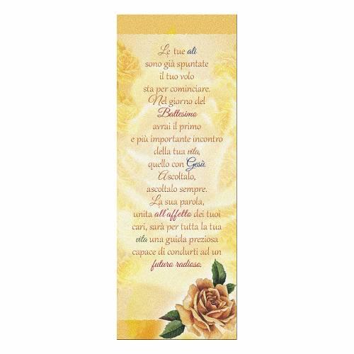 Segnalibro carta perlata Rosa Gialla Auguri Battesimo 15x5 cm s1