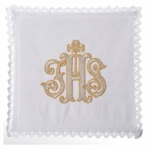 Service linge d'autel Chi-Rho décoré 100% lin s1