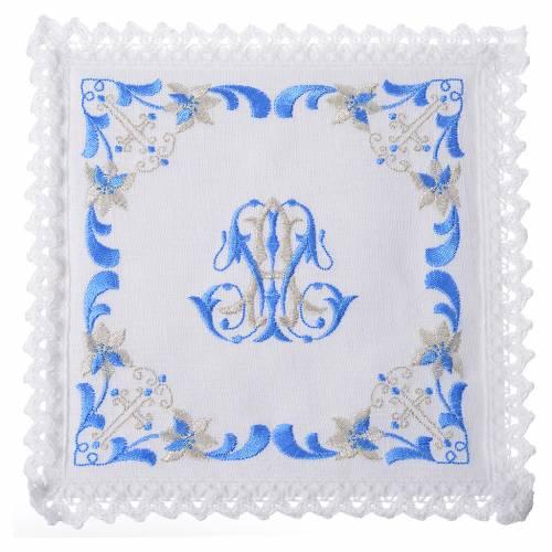 Servizio da altare 100% lino con simbolo mariano s1