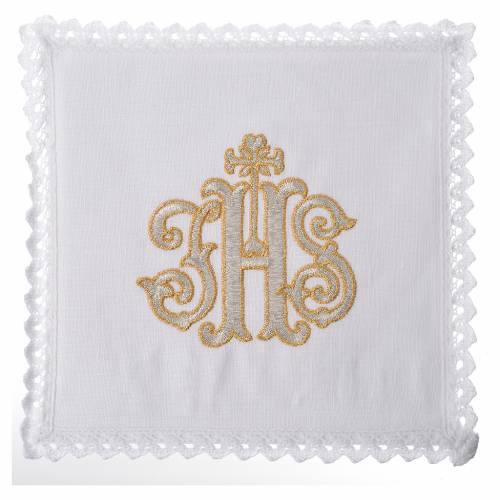 Servizio da altare 100% lino IHS decorato s1