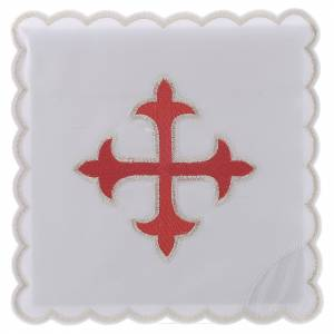 Servizio da altare cotone croce barocca oro rosso s1