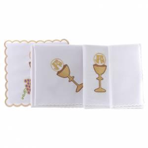 Servizio da altare cotone uva contorni dorati calice ostia JHS s2