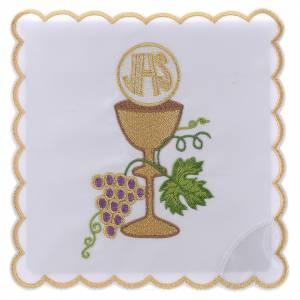 Servizio da altare cotone uva contorni dorati calice ostia JHS s1