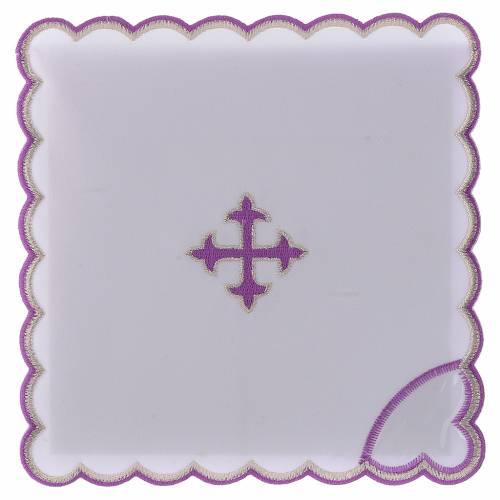 Set linge autel coton croix baroque broderie violet s1