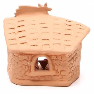 Shed with Nativity in terracotta 15x13x11cm s4