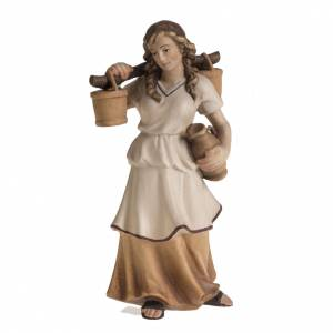Nativity scene from Val Gardena: Shepherdess with amphora for Raffaello nativity in painted wood,