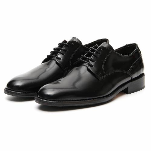Shoes in polished real black leather s5